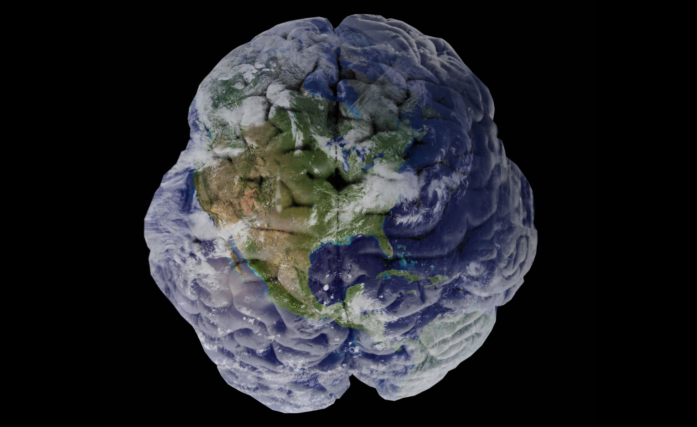 The Earth re-imaged as a human brain