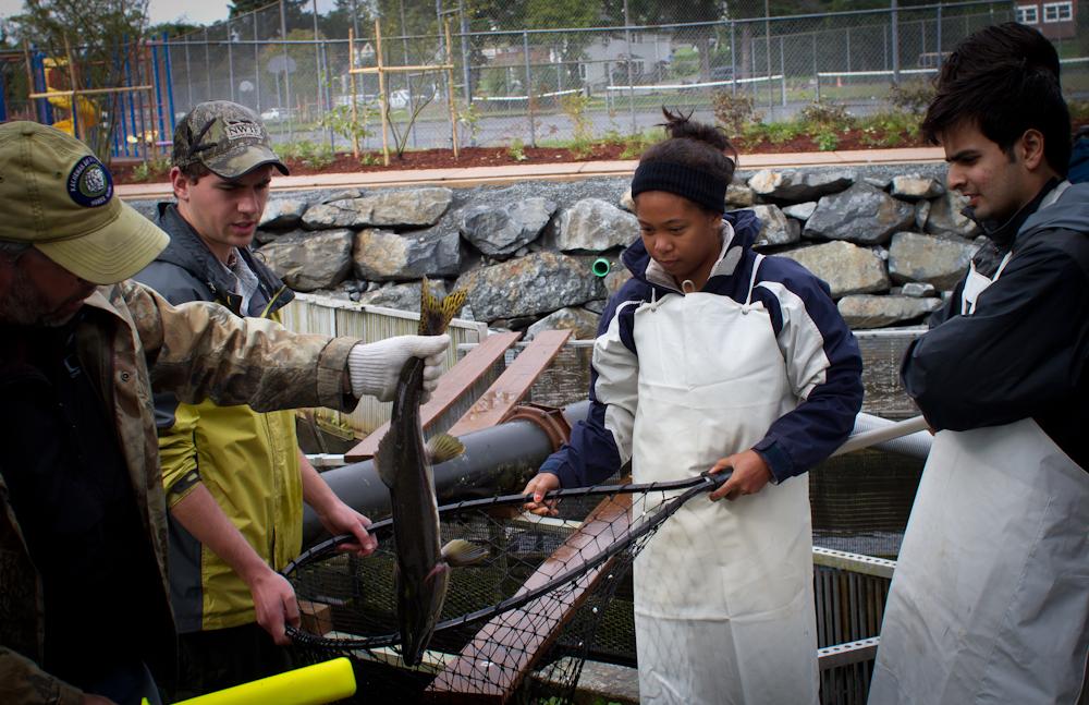 Earth Science grad students at an Alaskan fish hatchery