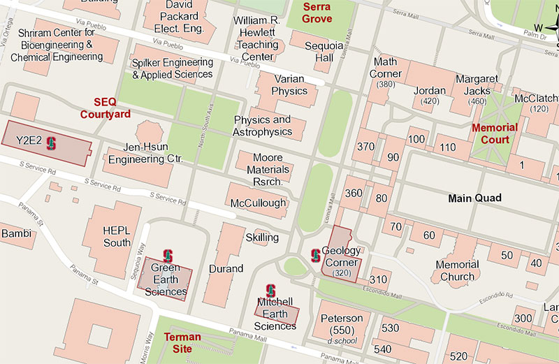 Campus map of Stanford Earth buildings