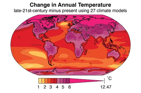 Illustrated Change in Annual Temperature map