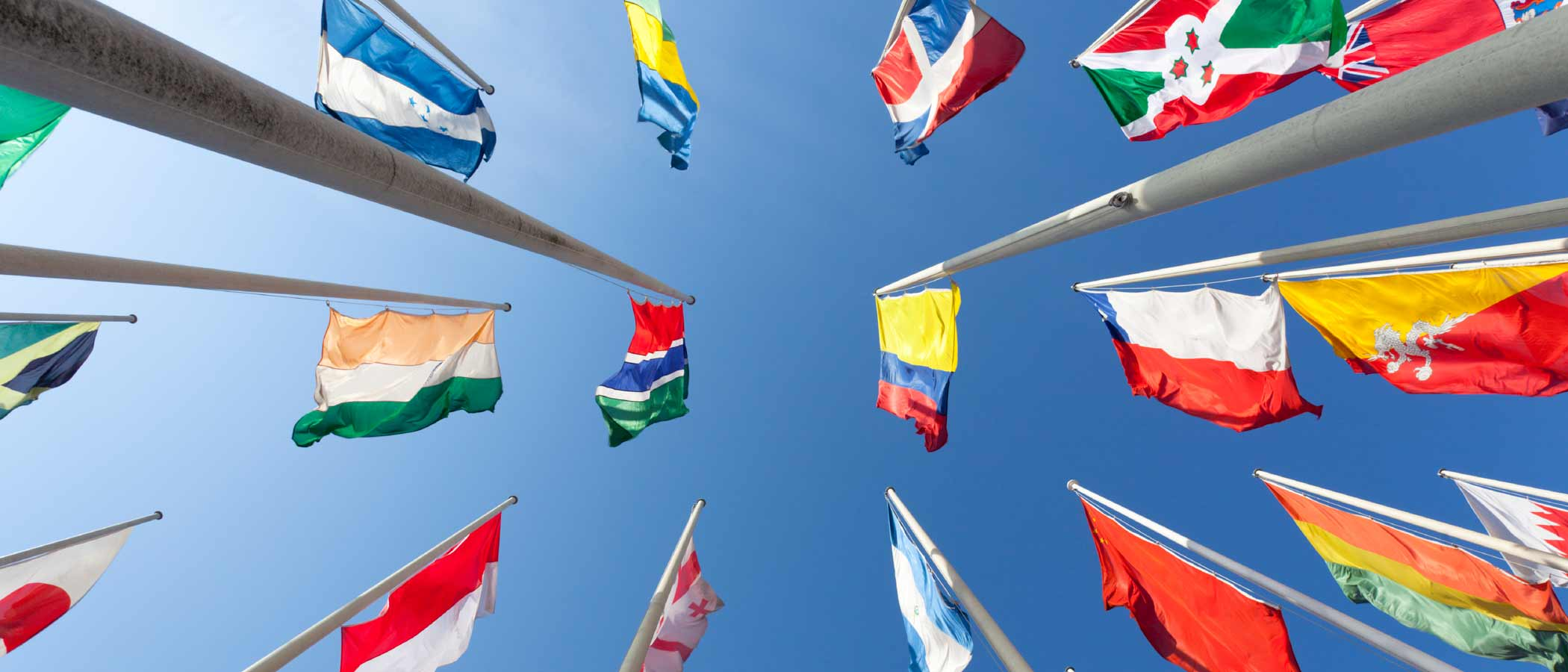 Flags from numerous different countries