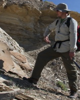 Noel geologizing at the Book Cliffs, Utah