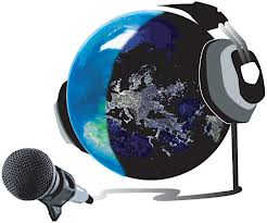 Illustration of the earth with headphones facing a microphone