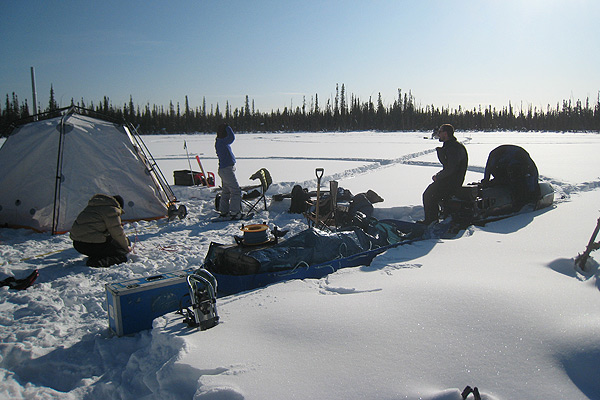 Geophysicists studying thawing permafrost and methane release