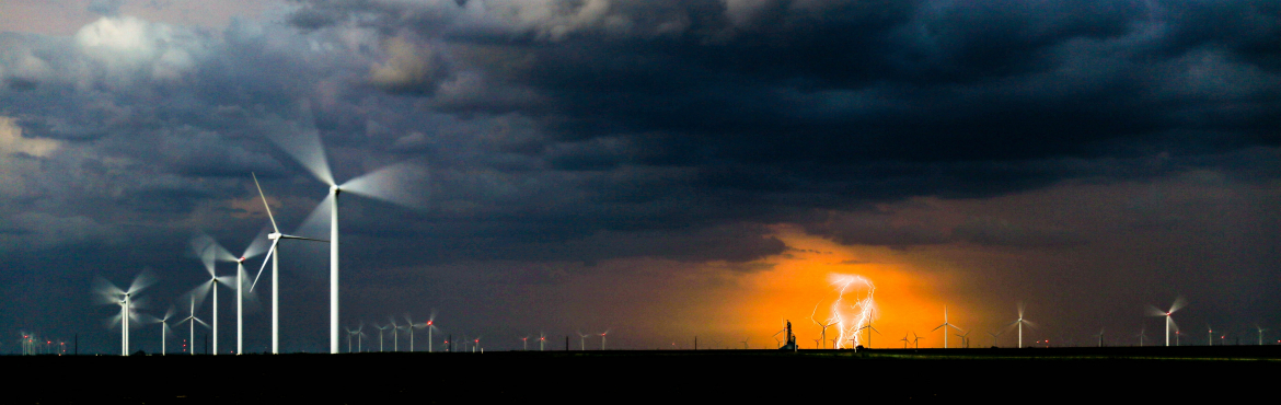 windmills in lightening storm