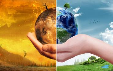 illustration of catastrophic and healthy Earth