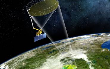 Graphic of satellite taking images of Earth from space