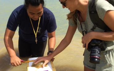 Shannon Switzer Swanson doing fieldwork  in Tonga