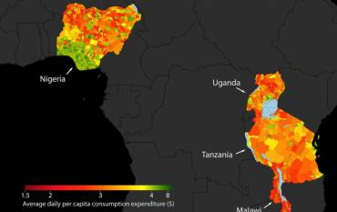 Map of Western Africa with poverty data