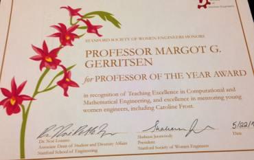 margot gerritsen professor of the year award