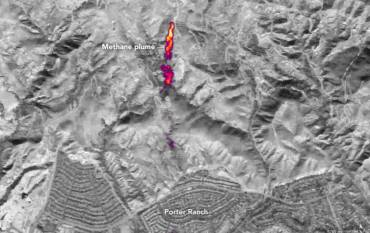 Infrared image of methane leak in Aliso Canyon.