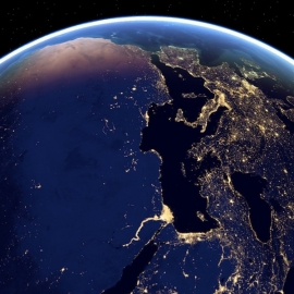 Earth from above at night