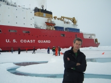 Kevin Arrigo in front of an ice breaker