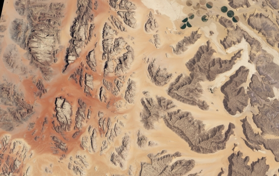 satellite image of Wadi Rum desert in Jordan