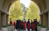 Stanford faculty prepare for the inauguration processional in 2016