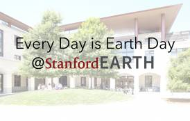 cover of Stanford Earth Day over a building