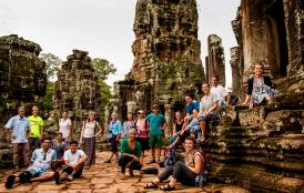 Students at the temples of Angkor Wat