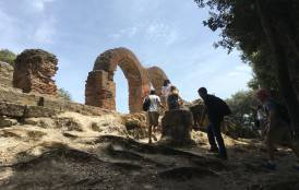 Students explore the archaeological site of Cumae