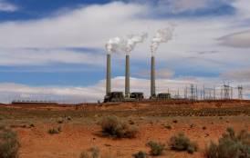 Power plant releasing carbon emissions