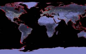 Map of the Earth representing a rise in sea levels
