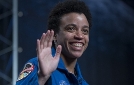 Stanford alumna in NASA uniform.