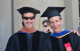 Two men posing for a picture at Stanford's Earth Science Commencement