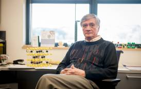 Professor Rod Ewing sits in his office at Stanford