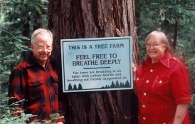 George and Anita Thompson next to a coastal redwood