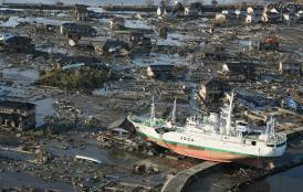 Ship grounded after tsunami