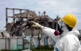 Fukushima power plant worker pointing his finger