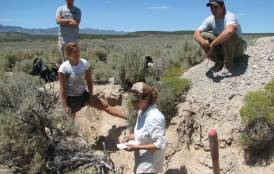 Students doing field work in Nevada
