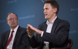 David Mount speaking on a panel at Climate One at The Commonwealth Club.
