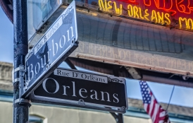 Bourbon Street sign in New Orleans.