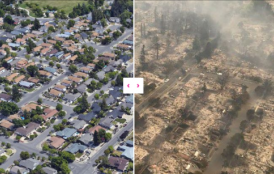Aerial view of Santa Rosa homes before and after fires.