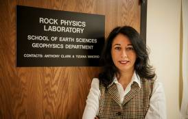 Tiziana Vanorio standing in front of the Rock Physics Laboratory