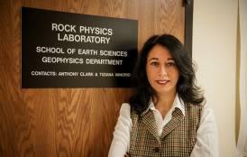 Tiziana Vanorio standing in front of the Rock Physics Laboratory
