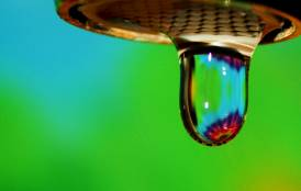 InSAR image seen through a water drop
