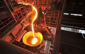 molten iron in steel factory