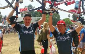 Jef Caers and Chet Chou at the finish line of Aidslifecycle