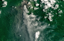 A steam and ash plume from Dukono in Indonesia.