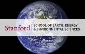 A picture of the Earth with the Stanford Earth Logo