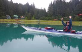 Zach in a kayak at Hobbit Hole
