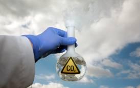 Lab beaker of CO2