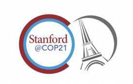 Stanford @COP21 next to a picture of the Eiffel tower