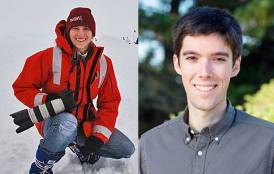 A picture of Cassandra Brooks in the snow next to a picture of Daniel Swain