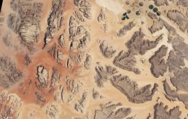 satellite image of Wadi Rum desert in Jordan
