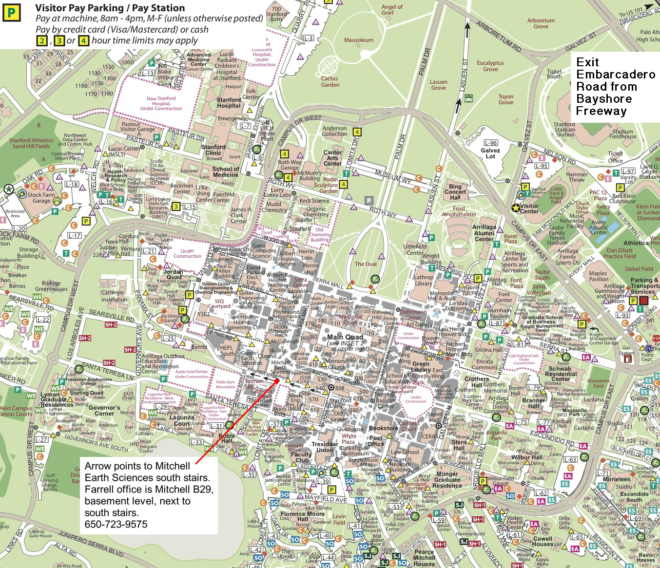 Stanford Campus Map Directions to the office of Phil Farrell Stanford Campus Map